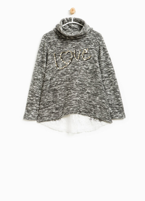 Stretch pullover with lace and sequins | OVS