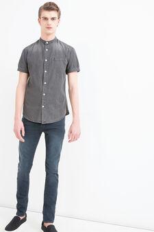 Camicia di jeans delavé, Nero, hi-res