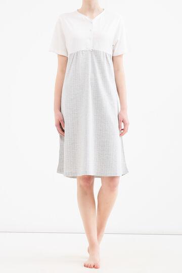 Floral patterned cotton nightshirt, White/Grey, hi-res