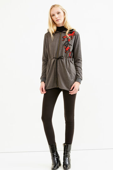 100% cotton sweatshirt with patches and embroidery, Black, hi-res