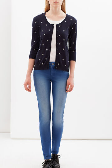 Printed cardigan with three-quarter sleeves., Navy Blue, hi-res