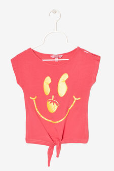 Sleeveless printed T-shirt, Lobster Red, hi-res