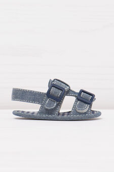 Sandals with check sole., Blue Marl, hi-res