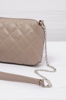 Leather look quilted mini bag, Mud Brown, hi-res