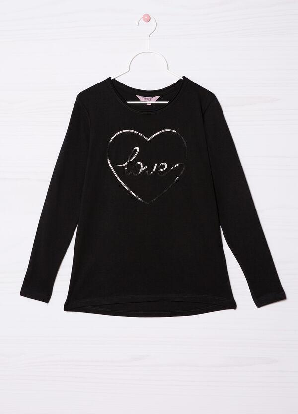 T-shirt puro cotone con strass | OVS