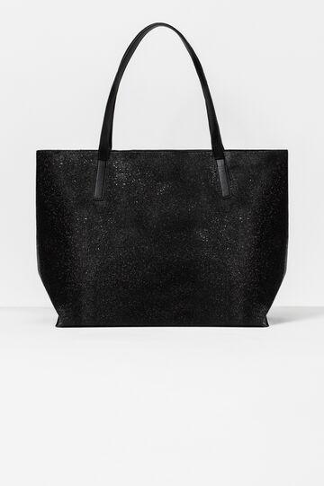 Glitter shoulder bag with zip, Black, hi-res