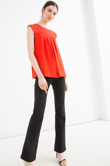 Insert embroidered blouse, Red, hi-res