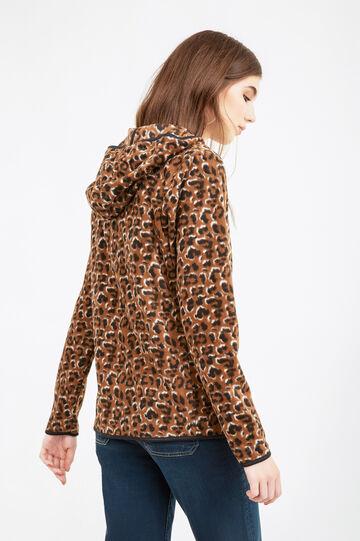 Patterned fleece hoodie, Brown, hi-res