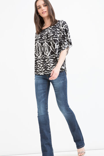 Patterned T-shirt in stretch viscose, Black/White, hi-res