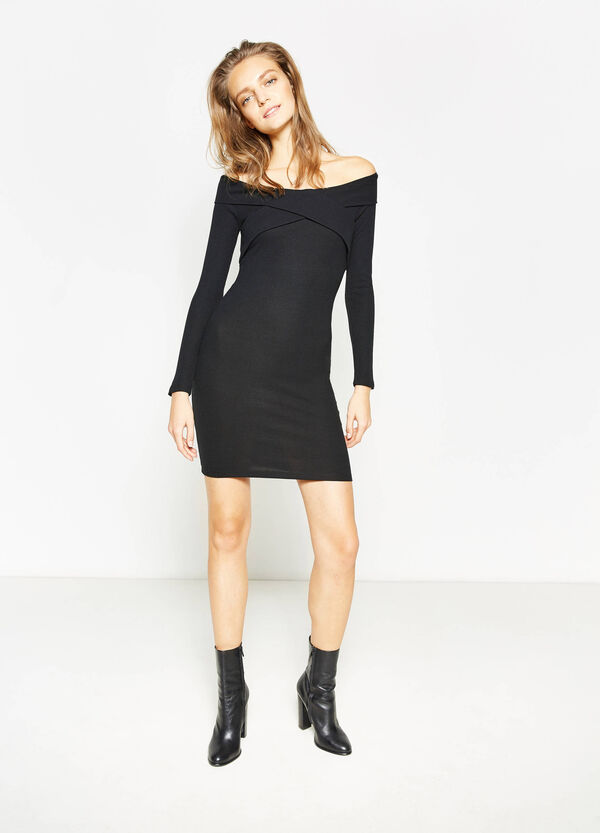 Viscose dress with boat-neck | OVS