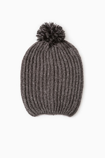 Knit beanie cap with pompoms, Grey Marl, hi-res