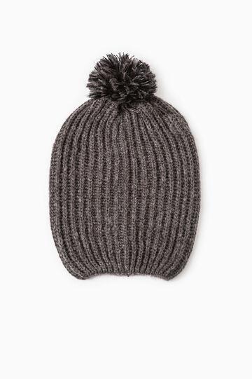 Cappello cuffia tricot con pon pon, Grigio melange, hi-res
