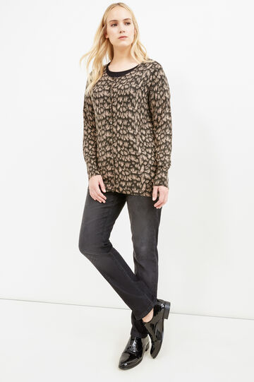 Curvy cardigan with ribbing, Multicolour, hi-res