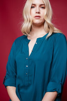 Curvy blouse with gathered shoulders, Petrol Blue, hi-res
