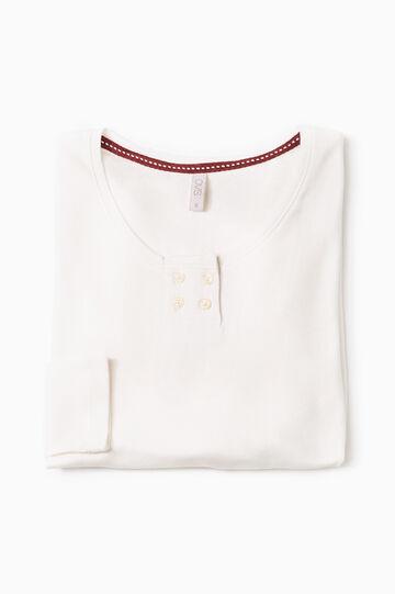 Solid colour cotton pyjama top, Cream White, hi-res