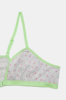 Patterned stretch bra, Green/Grey, hi-res