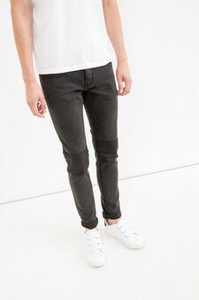 Skinny fit jeans printed at the knee, Black, hi-res