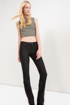 Bootcut jeans with contrasting stitching, Black, hi-res