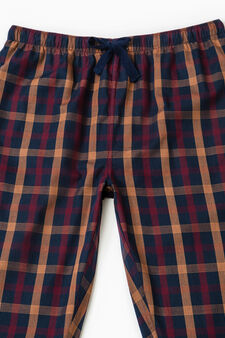 Cotton patterned pyjama trousers, Blue/Red, hi-res