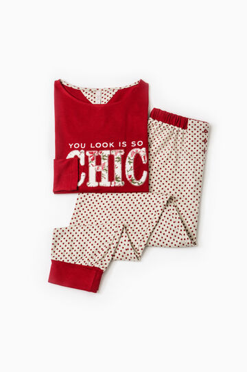 Printed pyjamas in 100% cotton, Red, hi-res