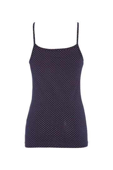Stretch cotton polka dot print top, Blue, hi-res