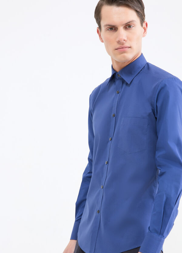 Solid colour slim fit shirt | OVS