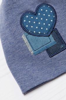 Cotton beanie cap with patches, Blue, hi-res