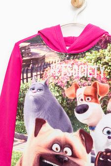 Pets maxi print cotton sweatshirt, Fuchsia, hi-res