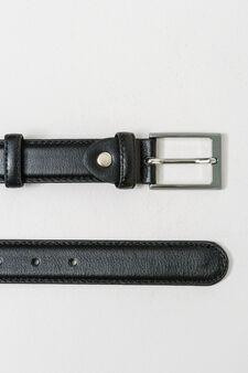 Textured-effect belt with two loops, Black, hi-res