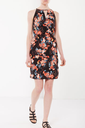 Sleeveless floral dress, Orange, hi-res