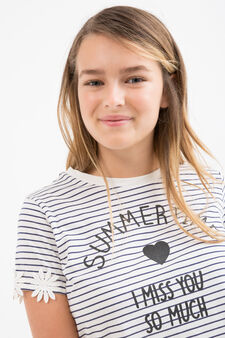 Teen cotton T-shirt with striped pattern, White/Blue, hi-res