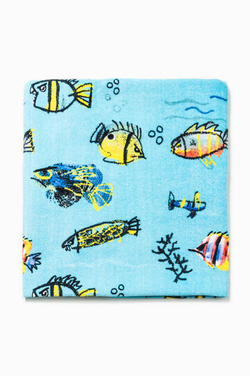 Patterned cotton beach towel, Soft Blue, hi-res