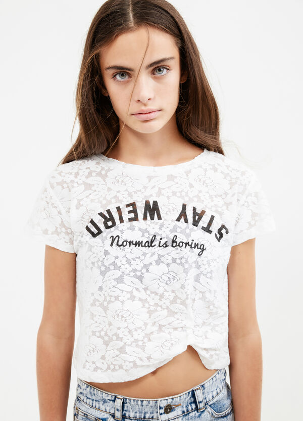 Teen crop T-shirt with lace and flower embroidery | OVS