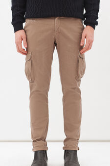 Stretch cargo chinos, Beige, hi-res