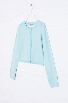 Cotton blend knitted shrug, Aqua Blue, hi-res