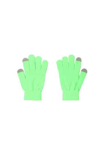 Guanti touch screen, Verde fluo, hi-res