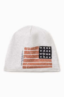 Cotton beanie cap with print, Light Grey, hi-res