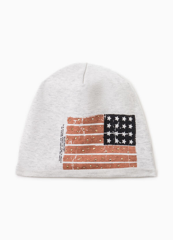 Cotton beanie cap with print | OVS