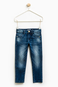 Used-effect stretch jeans with diamantés, Denim, hi-res