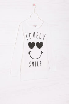 Sweatshirt in stretch cotton with printed lettering, White, hi-res