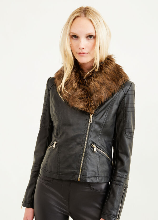 Leather look jacket with zip | OVS