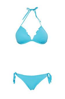 Bikini stretch con volants, Azzurro turchese, hi-res