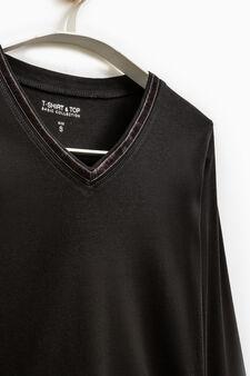 Smart Basic V-neck T-shirt, Black, hi-res