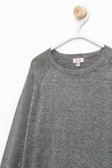 Pullover with faux layer on the hem, Dark Grey, hi-res