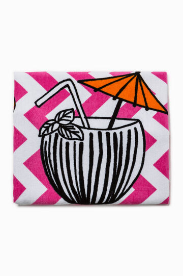 Striped beach towel with print