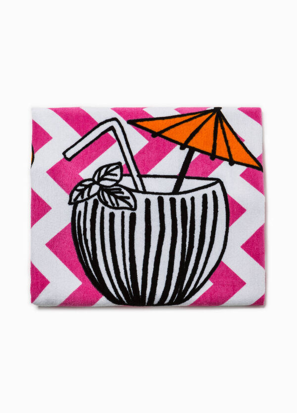 Striped beach towel with print | OVS