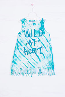 Printed vest in 100% cotton, Petrol Blue, hi-res