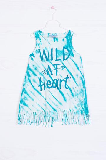 Printed vest in 100% cotton, Petrol Blue, hi-res