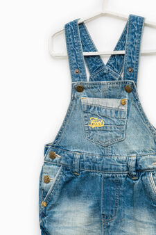 Faded-effect denim dungarees, Denim, hi-res