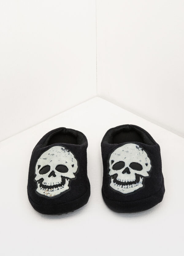 Canvas slippers with skull patch | OVS